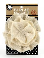"Canvas Corp - Flower Burlap 4"" Ivory"