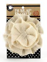 "Canvas Corp - Flower Burlap 4"" Ivory"