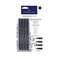 FABER-CASTELL Mix and Match Pitt Artist Pens - 4-pack Black Essential