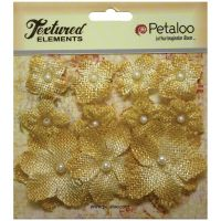 Petaloo Mini Burlap Flowers - Antique Gold