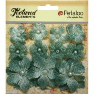 Petaloo Mini Burlap Flowers - Antique Green