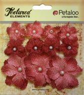 Petaloo Mini Burlap Flowers - Antique Red