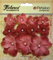 Petaloo Mini Burlap Flowers - Antique Red