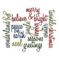 Sizzix - Tim Holtz - Alterations Collection - Thinlits Die - Script Holiday Words